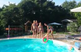 Zwembad met chalet op de achtergrond